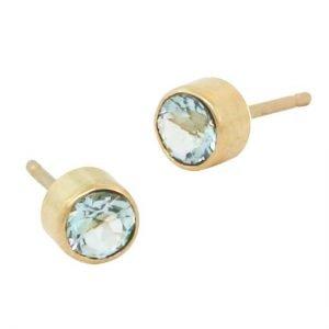 14 Karat Gold Aquamarine Stud Earrings, 4mm