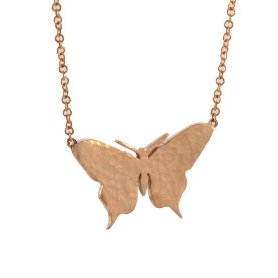 14 Karat Hammered Rose Gold Butterfly on 14 Karat Gold Chain Small
