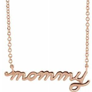 14k rose gold petite mommt necklace