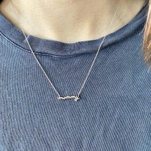 14 Karat Gold Petite Mommy Script Necklace