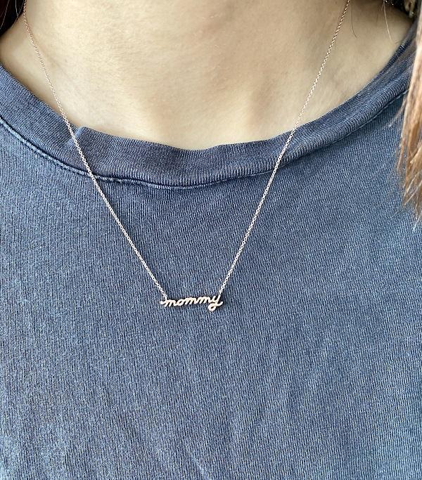 14K Rose Gold Petite Mommy Script Necklace model