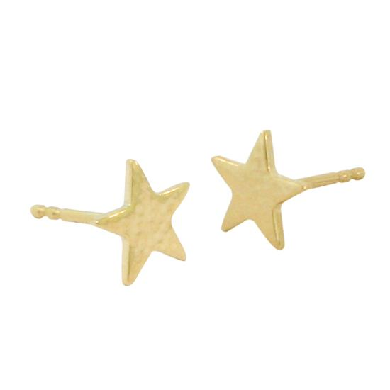 14k Yellow Gold Hammered Star Stud Earrings