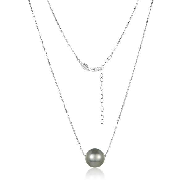 14K WHITE GOLD 12MM SILVER TAHITIAN PEARL NECKLACE