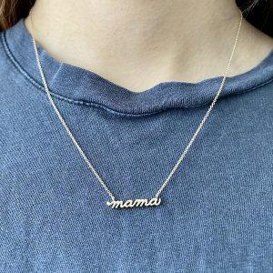 14 Karat Gold Petite Mama Script Necklace