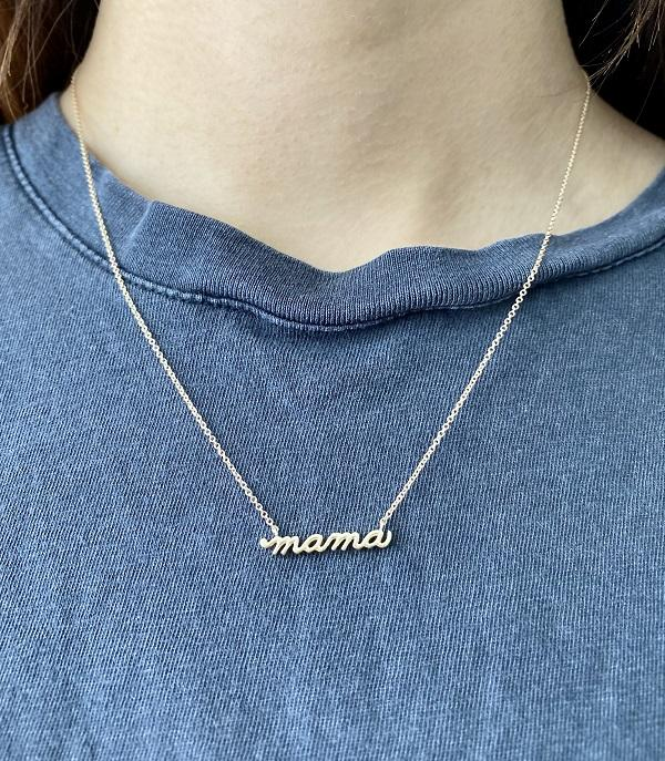 14K Yellow Gold Petite Mama Script 18 Necklace