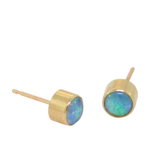 14 Karat Gold Opal Stud Earrings, 4mm