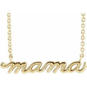 14k yellow gold petite mama necklace