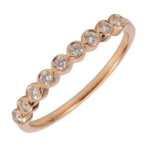 14 Karat Gold 9 Bezel Set Diamond Ring