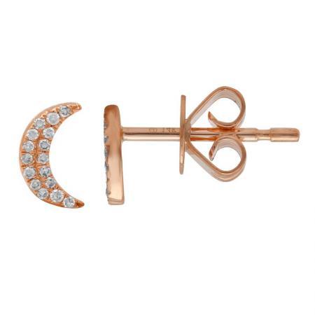 14 Karat Gold Pave Diamond Crescent Moon Stud Earrings