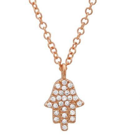 14 Karat Rose Gold Micro-Pave Diamond Hamsa Charm Necklace