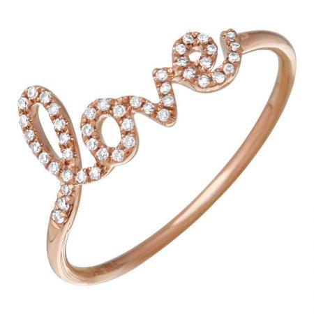14k Rose Gold Micro-Pave Diamond Love Ring