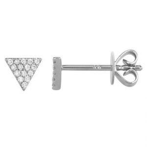 14 Karat Gold Pave Diamond Triangle Stud Earrings, 5mm
