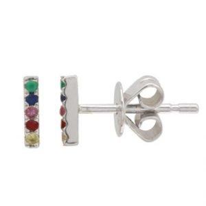 14 Karat Gold Rainbow Sapphire Bar Stud Earrings, 5 stone