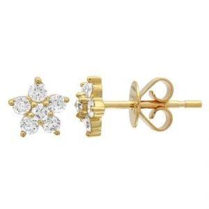 14 Karat Gold Diamond Flower Stud Earring