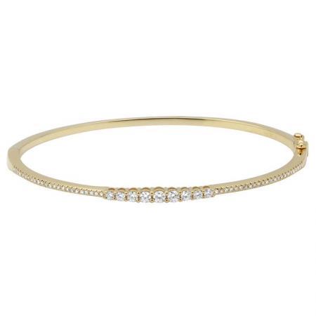 14 Karat Gold Micro-Pave Graduated Diamond Hinged Bracelet