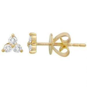 14 Karat Gold Diamond Trio Stud Earrings