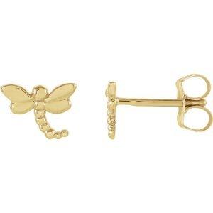 14k yellow gold dragonfly stud earrings