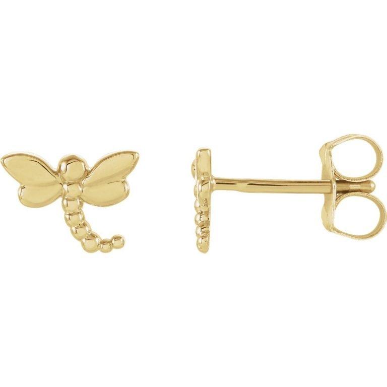 14 Karat Gold Dragonfly Stud Earrings