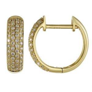 14 Karat Gold Micro-Pave Diamond Four Row Hinged Hoop Earrings