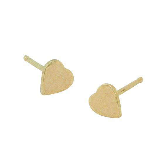14 Karat Gold Hammered Heart Stud Earrings, 5mm