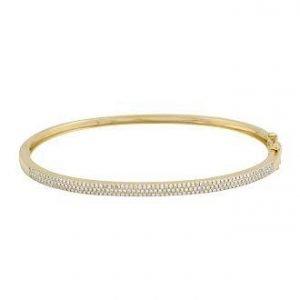 14 Karat Gold Triple-Row Pave Diamond Hinged Bangle Bracelet