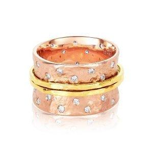 18 Karat Gold Two Tone Sparkling Diamond Spinner Ring