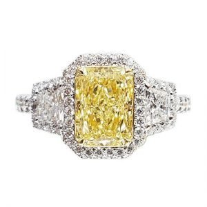 18k fancy yellow diamond ring 1