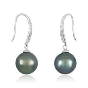 18k white gold diamonds 9mm tahitian pearl earrings