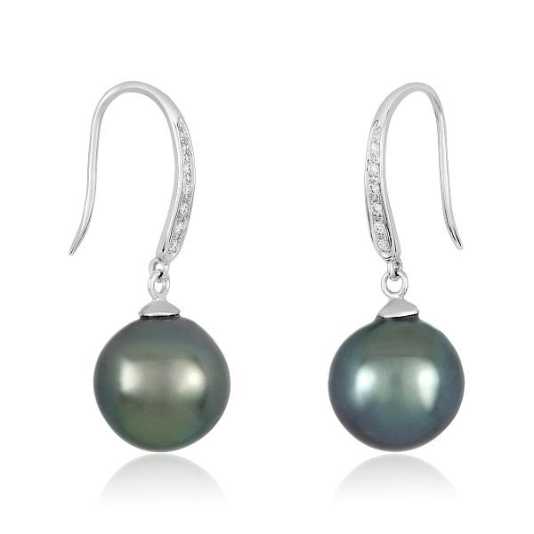 18K WHITE GOLD & DIAMONDS 9MM TAHITIAN PEARL EARRINGS