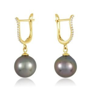 18K YELLOW GOLD & DIAMONDS 8MM TAHITIAN PEARL EARRINGS