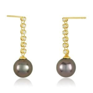 18k yellow gold diamonds drop 8mm tahitian pearl earrings