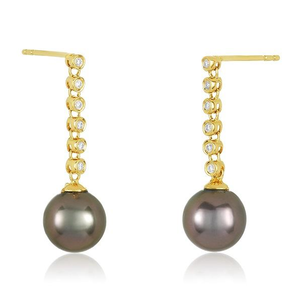 18K YELLOW GOLD DIAMONDS DROP 8MM TAHITIAN PEARL EARRINGS