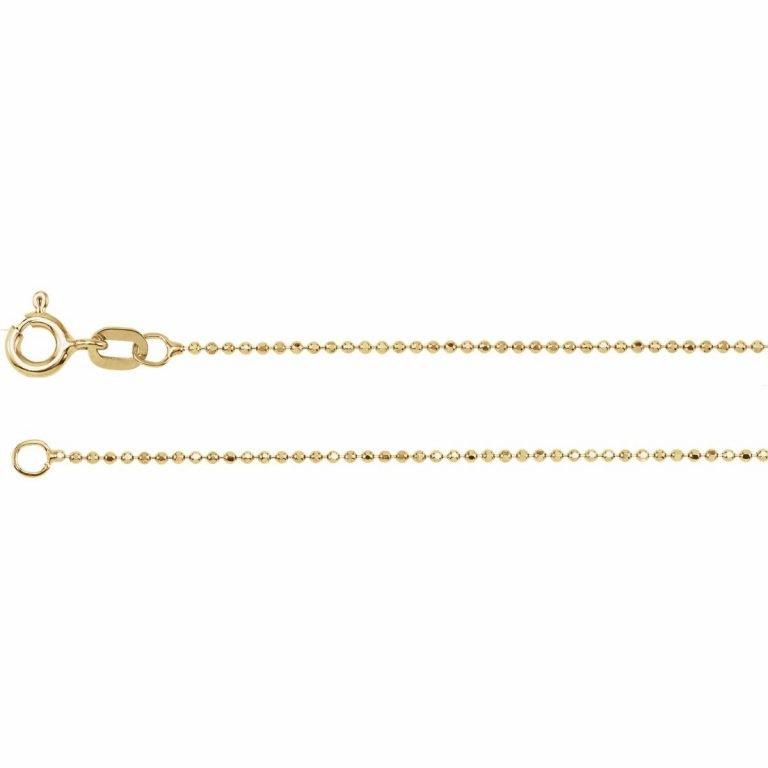 14 Karat Gold 1mm Diamond-Cut Bead Chain