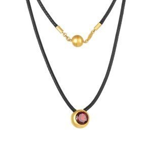 22K Gold 3.5CT Fire Garnet Necklace Black Leather And Magnetic Clasp
