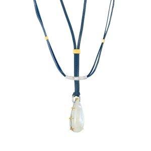 Mixed-Metal 25 Carats Rainbow Moonstone Necklace