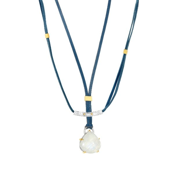 22K Gold Claws Silver Frame 25CT Moonstone Necklace Adjustable Blue Leather And Clasp 2