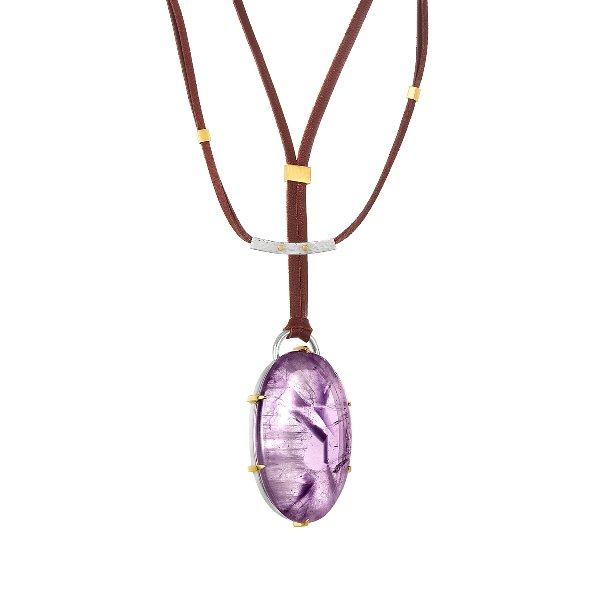 22K Gold Claws Silver Framed 79CT Amethyst Necklace Adjustable Brown Leather And Clasp