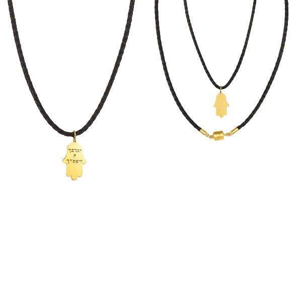 22K Gold Hammered Hamsa Necklace Black Leather Magnetic Clasp Front And Back