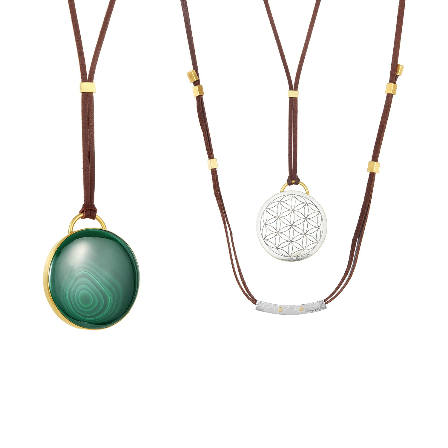 22K Gold Wrapped 187CT Malachite Necklace Adjustable Brown Leather Front And Back