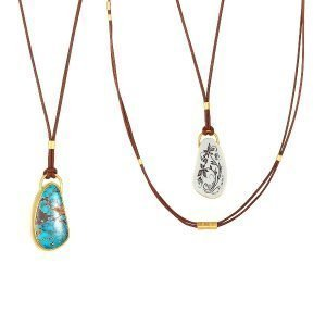 22K Gold Wrapped Silver Leaves 16CT Pilot Mt Turq. Necklace Adjustable Brown Leather Front And Back