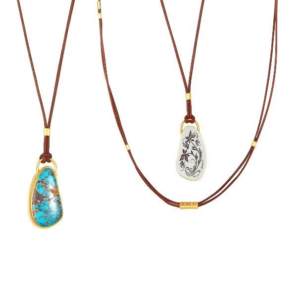 22 Karat Gold – 925 Pilot Mt. Turquoise Necklace