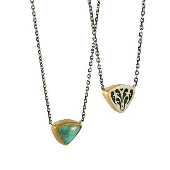 22 Karat Gold & Arizona Turquoise Pendant on Sterling Silver Chain, 2 ctw