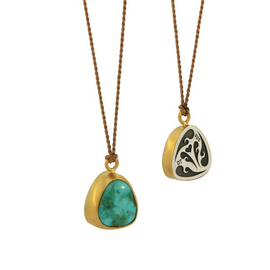22K Gold & Arizona Turquoise Pendant on Dark Brown Silk Cord, 6ctw