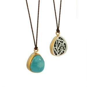 22 Karat Gold & Arizona Turquoise Pendant on Dark Brown Silk Cord, 6ctw