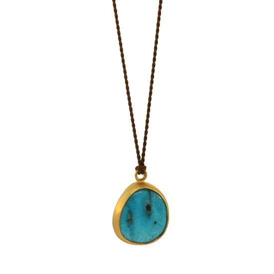 22K Gold & Arizona Turquoise Pendant on Sterling Silver Chain, 4 ctw