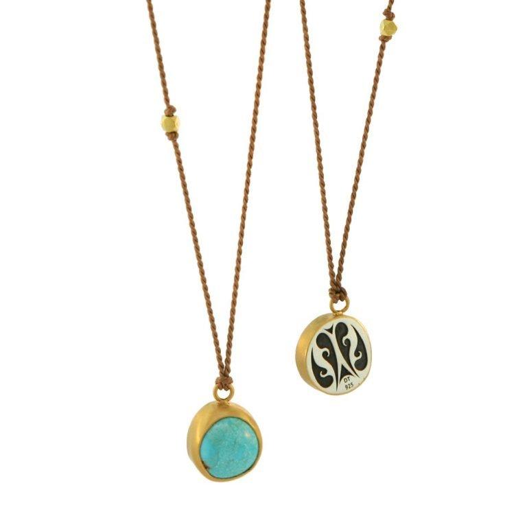 22 Karat Gold & Arizona Turquoise Pendant on Light Brown Silk Cord, 2 ctw