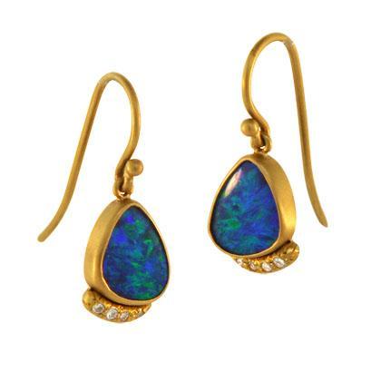 22 Karat Gold Australian Opal Diamond Earrings