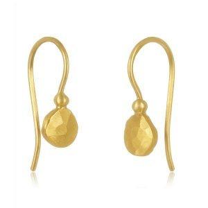 22 Karat Gold Free-Form Hammered Disc Earrings