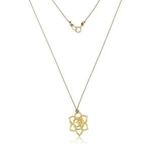 22k gold open flower om on silk cord