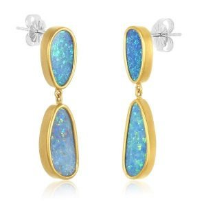 22k gold wrapped double miss match opal earrings